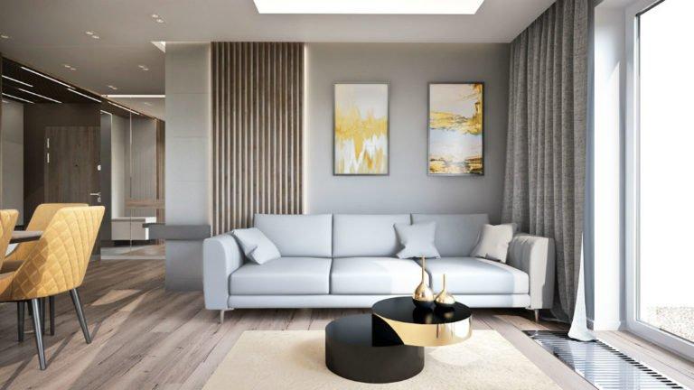 Elegancki apartament z elementami złota - salon
