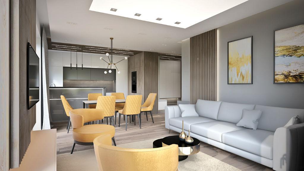 Elegancki apartament z elementami złota - przestrzeń