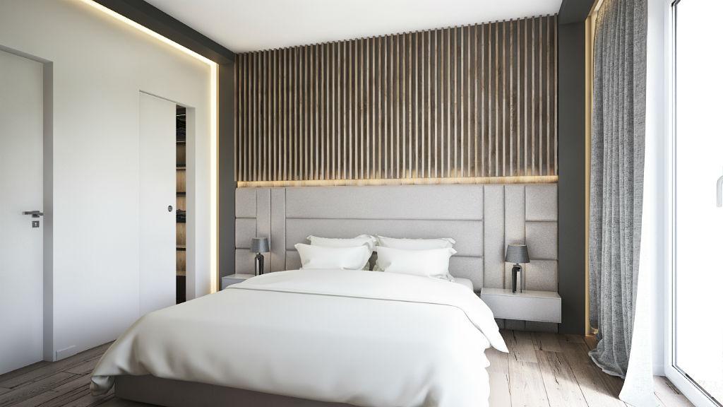 Elegancki apartament z elementami złota - sypialnia