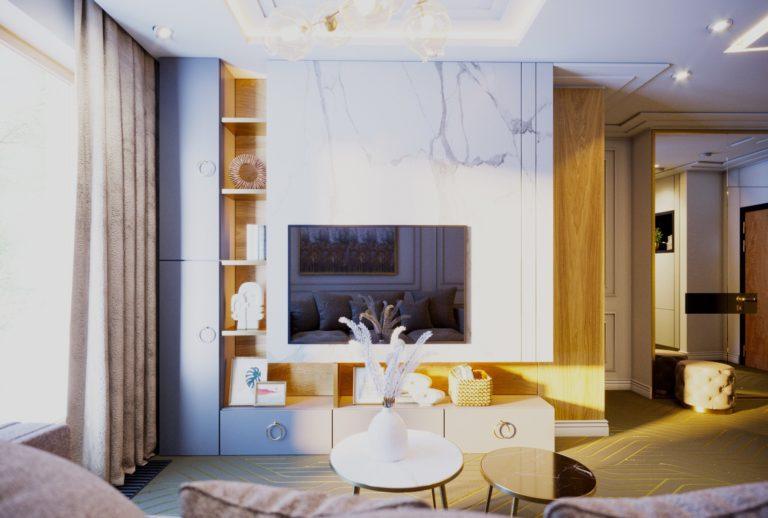 apartament art deco na warszawskim powiślu - salon